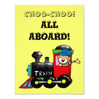 "choo choo train 1st birthday party 4.25"" x 5.5"" invitation card"