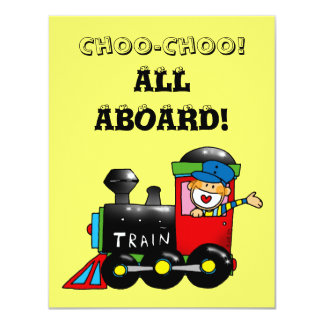 choo choo train 1st birthday party card