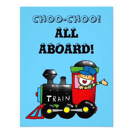 choo choo train 3rd birthday party invites