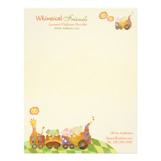 Choo Choo Train Baby Animals Daycare Business Letterhead