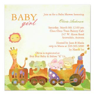 Choo Choo Train Baby Girl Baby Shower Card