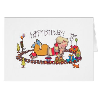 Choo-choo train birthday notecard