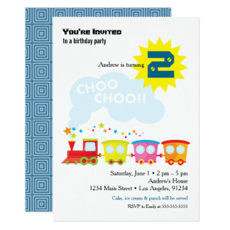 Choo Choo Train Birthday Party Invitation