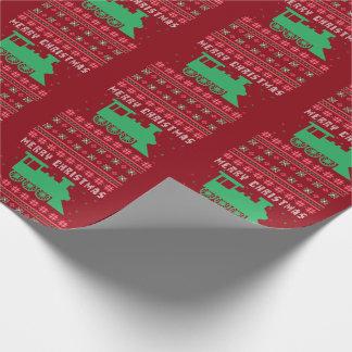Choo-Choo Train Engine Ugly Christmas Sweater Wrapping Paper