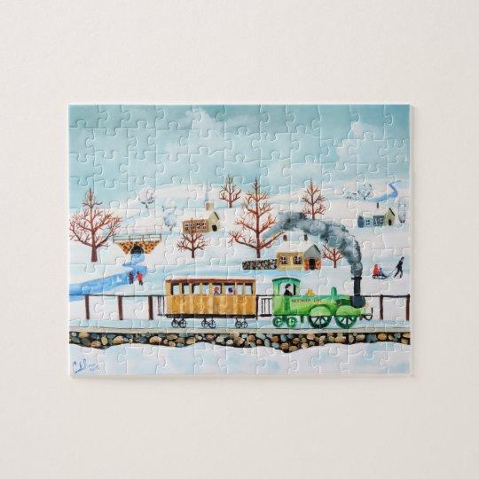 Choo choo train folk art winter scene jigsaw puzzle