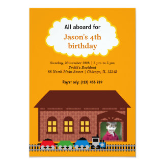 Choo Choo Train 5x7 Paper Invitation Card