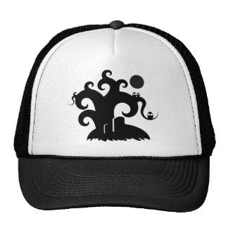 choose-a-background black spooky tree illustration trucker hat