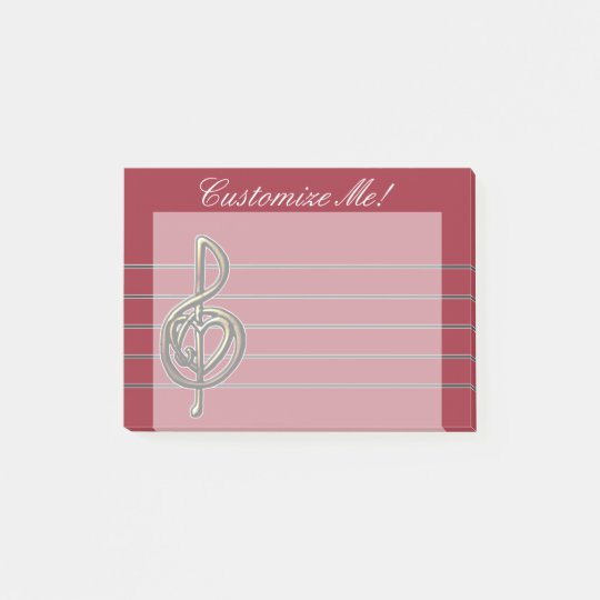 Choose a Colour Embossed Look Treble Clef and Hear Post-it Notes