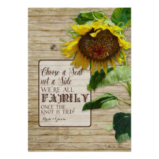 Choose a Seat not a Side Family Wedding Sign Tan Poster