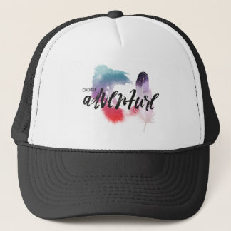 """Choose Adventure"" Watercolor Feather Hat"