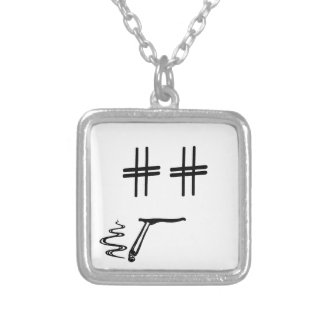 CHOOSE ANY COLOR # Hashtag Dude Smiley Face Silver Plated Necklace