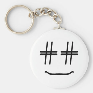 CHOOSE ANY COLOR # Hashtag Smiley Face Cute Basic Round Button Keychain