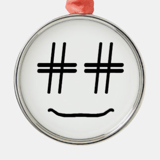 CHOOSE ANY COLOR # Hashtag Smiley Face Cute Silver-Colored Round Ornament