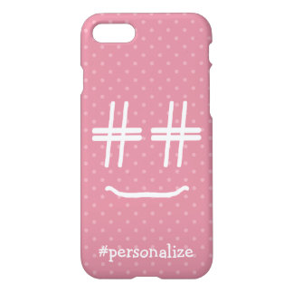 CHOOSE ANY COLOR #Hashtag Smiley Face Personalized iPhone 7 Case
