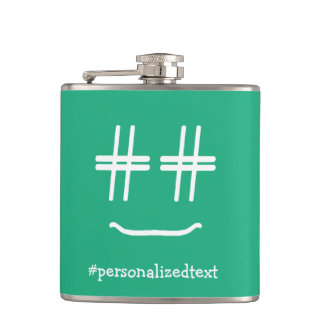 CHOOSE ANY COLOR # Hashtag Smiley Personalized Hip Flask