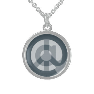 CHOOSE ANY CUSTOM COLOR @ Peace Sign Social Media Round Pendant Necklace