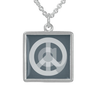 CHOOSE ANY CUSTOM COLOR @ Peace Sign Social Media Square Pendant Necklace