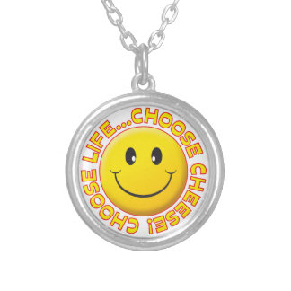Choose Cheese Smiley Silver Plated Necklace