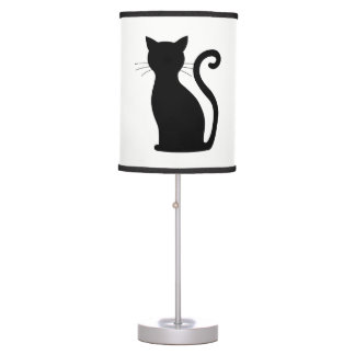 CHOOSE COLOR Black Cat Silhouette Cute Fun Girly Table Lamp