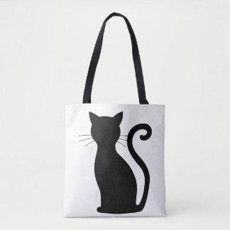 CHOOSE COLOR Black Cat Silhouette Cute Fun Girly Tote Bag