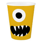 Choose Colour Kids Silly Monster Face Yellow Party Paper Cup
