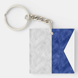 Choose from 26 Watercolor Nautical Maritime Flags Keychain