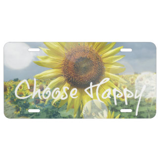 Choose Happy Quote with Sunflowers License Plate