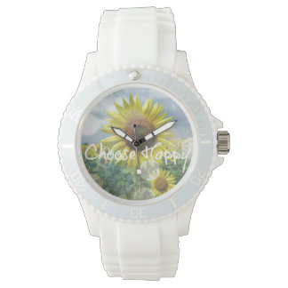 Choose Happy Quote with Sunflowers Watch