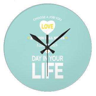 Choose Job Teal Inspirational Quotes Wall Clock
