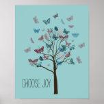 Choose Joy Butterflies Tree Poster