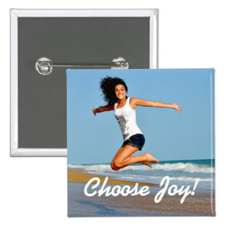 Choose Joy! Happy Woman On Beach Square Button