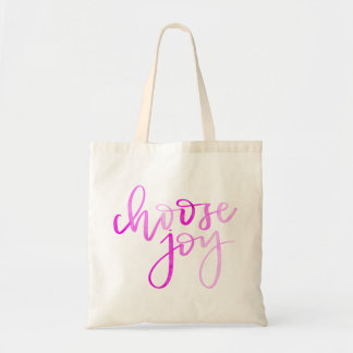 Choose Joy Modern Calligraphy Tote - Pink