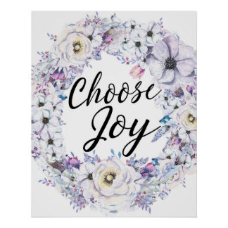 Choose Joy, Watercolor Blue Floral Wreath Poster