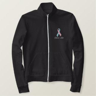Choose Life, Pro-Life Jacket, Pink and Blue Ribbon Embroidered Jacket