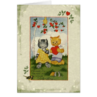 Choose My Heart Vintage Valentine Cats Card