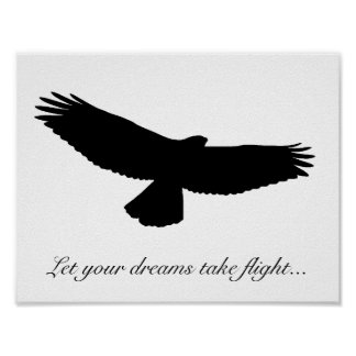 CHOOSE OWN BACKGROUND COLOR! RED TAILED HAWK Black Poster
