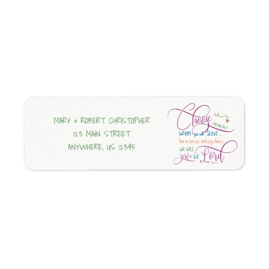 Choose who you will serve - Joshua 24:15 Return Address Label