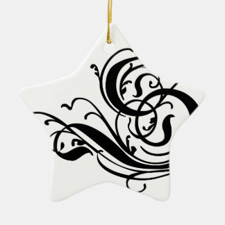 Choose your color Background Monogrammed letter S Ceramic Star Ornament