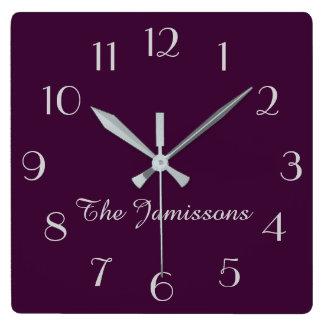 CHOOSE YOUR COLOR, Clock, Purple Default Square Wall Clock