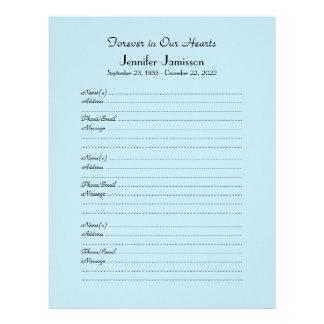 CHOOSE YOUR COLOR, Memorial Book Filler Page Letterhead Template