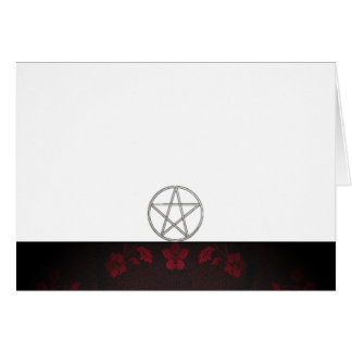 Choose Your Color Red & Pentacle Fabric Blank Card