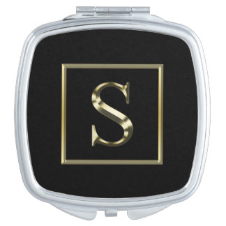 Choose Your Own Shiny Gold Monogram Compact Mirror