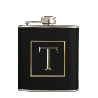 Choose Your Own Shiny Gold Monogram Flask