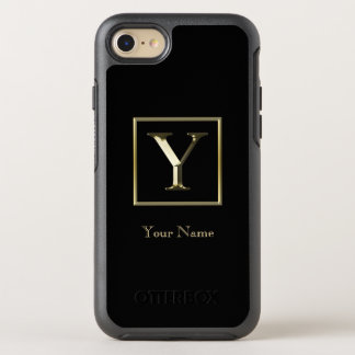 Choose Your Own Shiny Gold Monogram iPhone 7 Otter OtterBox Symmetry iPhone 7 Case