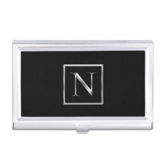 Choose Your Own Shiny Silver Monogram Card Holder