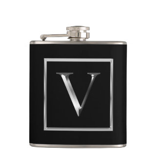 Choose Your Own Shiny Silver Monogram Flask
