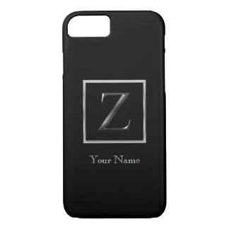 Choose Your Own Shiny Silver Monogram iPhone 7 Bar Case-Mate iPhone Case