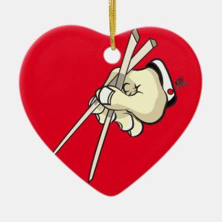 Chop Sticks Asian Design Ceramic Heart Ornament