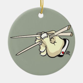 Chop Sticks Asian Design Round Ceramic Ornament