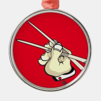 Chop Sticks Asian Design Silver-Colored Round Ornament